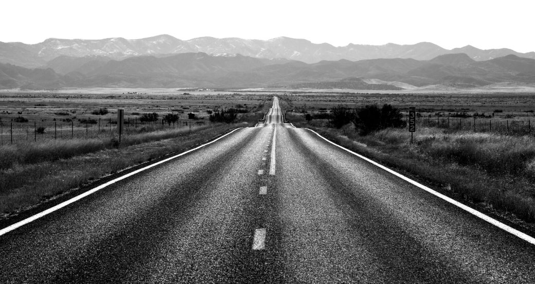 Road in black and white